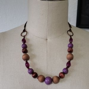Beaded wood and satin ribbon necklace